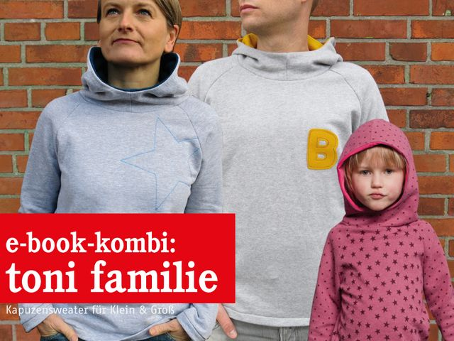Produktfoto 1 von STUDIO SCHNITTREIF zum Nähen für Schnittmuster TONI FAMILIE  Kapuzensweater im Partnerlook