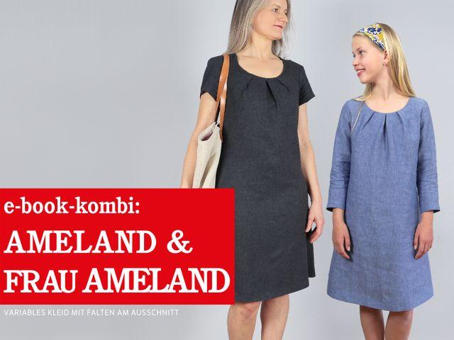 Produktfoto 1 von STUDIO SCHNITTREIF zum Nähen für Schnittmuster AMELAND und FRAU AMELAND • Kleider im Partnerlook,  e-book Kombi