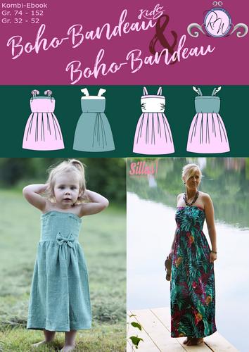 Produktfoto 1 von Rosalieb & Wildblau zum Nähen für Schnittmuster Kombi-Ebook Boho-Bandeau Damen und Kids