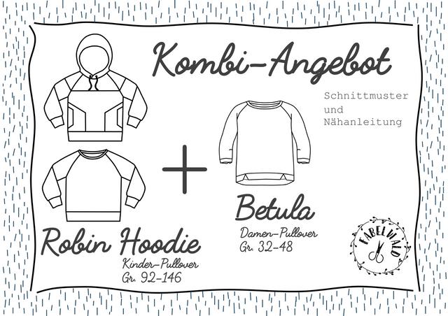 """Produktfoto 1 von Fabelwald zum Nähen für Schnittmuster Kombi-Angebot: """"ROBIN Hoodie"""" + """"BETULA"""""""
