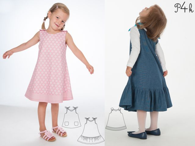 Produktfoto 1 von Pattern 4 kids zum Nähen für Schnittmuster Siena und Steffi Mädchenkleid