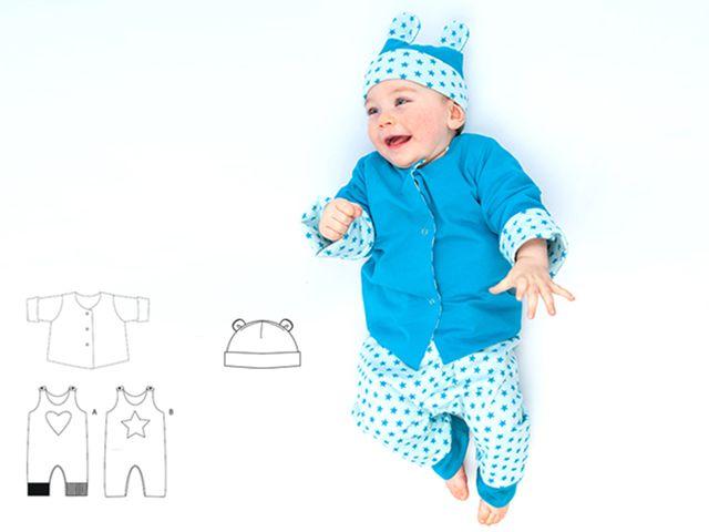 Produktfoto 1 von Pattern 4 kids zum Nähen für Schnittmuster Alberto, Flavio und Orso - Strampler, Jacke und Mütze