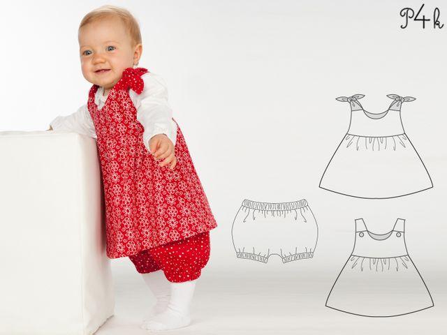 Produktfoto 1 von Pattern 4 kids zum Nähen für Schnittmuster Elisa und Lipsia - Kleid und Pumphose kombiniert