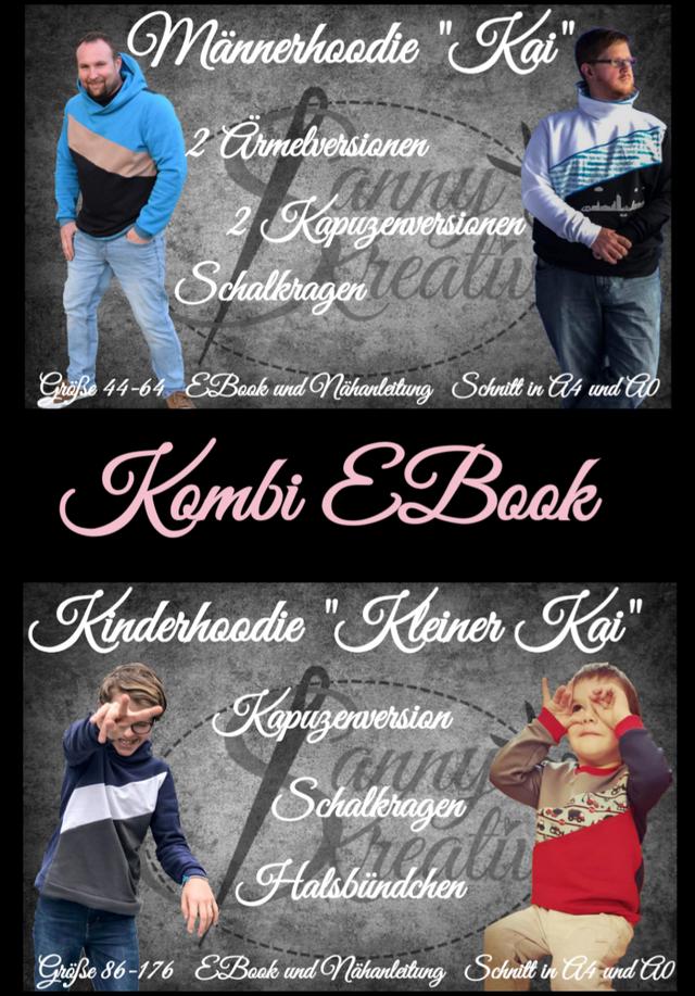 Produktfoto 1 von Sanny Kreativ zum Nähen für Schnittmuster Kombi Ebook Hoodie Kai und kleiner Kai