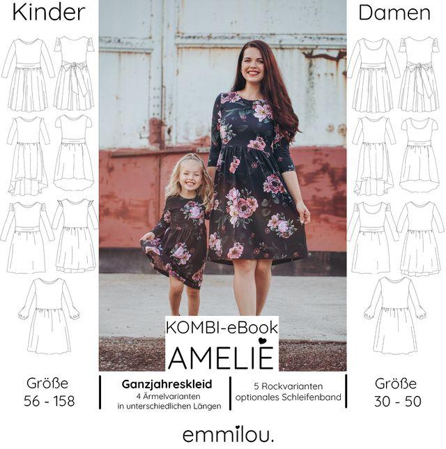 """Produktfoto 1 von emmilou. zum Nähen für Schnittmuster Kombi eBook Ganzjahreskleid """"Amelie"""""""