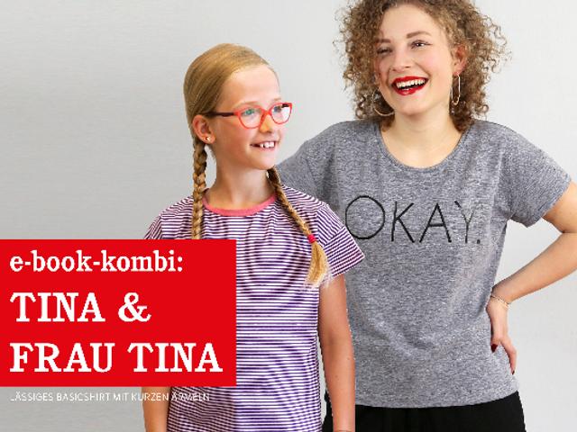 Produktfoto 1 von STUDIO SCHNITTREIF zum Nähen für Schnittmuster FRAU TINA & TINA  Basicshirts mit kurzen Ärmeln