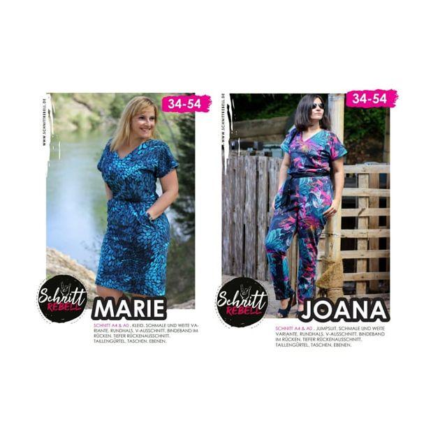 Produktfoto 1 von Schnittrebell zum Nähen für Schnittmuster Kombi Ebook Jumpsuit Marie & Kleid Joana Gr.34-54