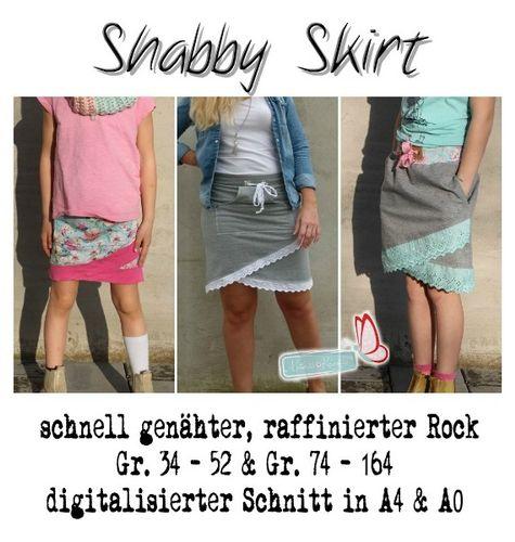 Produktfoto 1 von MiToSa-Kreativ zum Nähen für Schnittmuster Kombi E-Book Shabby Skirt Ladies und Kids Gr. 34-52 / Gr. 74 - 164