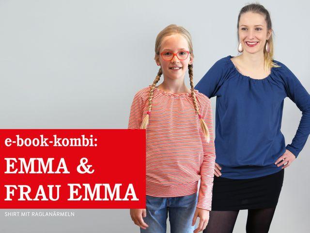 Produktfoto 1 von STUDIO SCHNITTREIF zum Nähen für Schnittmuster EMMA & FRAU EMMA Raglanshirts im Partnerlook