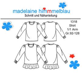 Foto zu Schnittmuster 1318 Mädchenshirt von madelaine himmmelblau