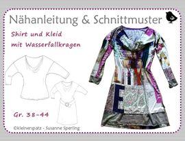 Foto zu Schnittmuster Shirt und Kleid mit Wasserfallkragen von kleinerspatz