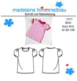 Foto zu Schnittmuster 1311 Shirt kurz Arm Mädchen von madelaine himmmelblau