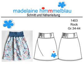 Foto zu Schnittmuster 1403 Rock einfacher Bund von madelaine himmmelblau