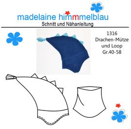 Foto zu Schnittmuster 1316 Drachenmütze und Loop von madelaine himmmelblau