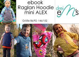 Foto zu Schnittmuster Raglan Hoodie mini Alex von drei eMs
