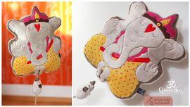 Foto zu Schnittmuster Glücksbringer-Kissen Spieluhr Ganesha von shesmile