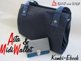 """Produktfoto von RUND und ECKIG für Kombi Ebook Kombi-Ebook Tasche """"Asta"""" & """"MidiWallet"""""""