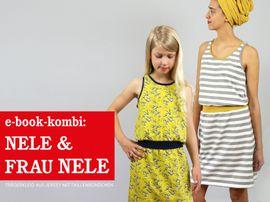 Produktfoto von STUDIO SCHNITTREIF für Kombi Ebook FRAU NELE & NELE Trägerkleider im Partlerlook