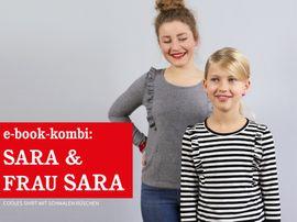 Produktfoto von STUDIO SCHNITTREIF für Kombi Ebook FRAU SARA & SARA Rüschenshirts im Partnerlook