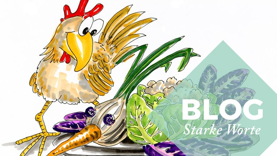 Zeichnung: Huhn mit Gemüsehuhn