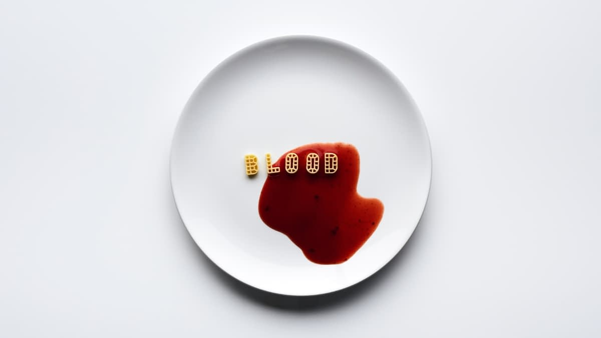 Blood geschrieben mit Pasta
