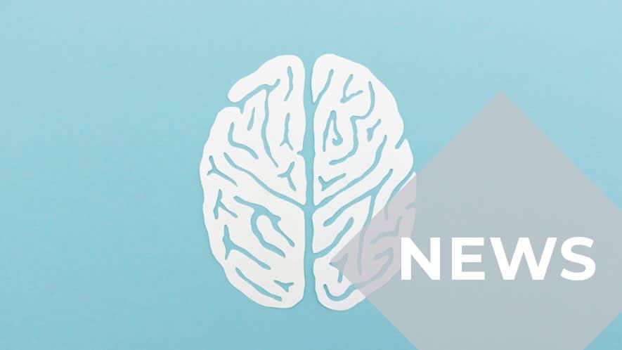 Stilisierte Darstellung eines weißen Gehirns auf hellblauem Untergrund