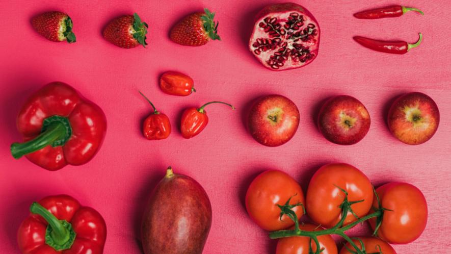 Rotes Obst und Gemüse