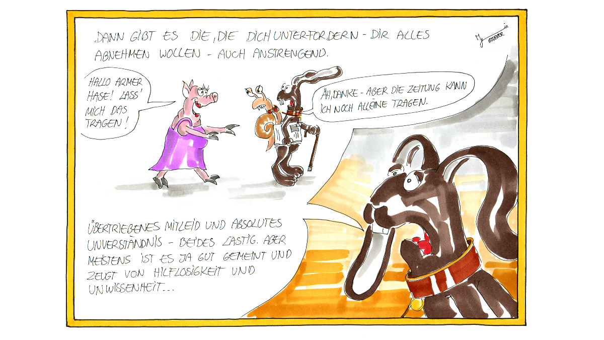 """Cartoonillustrationen: """"unsichtbar-ueberfordert"""" & """"unsichtbar-unterfordert"""""""