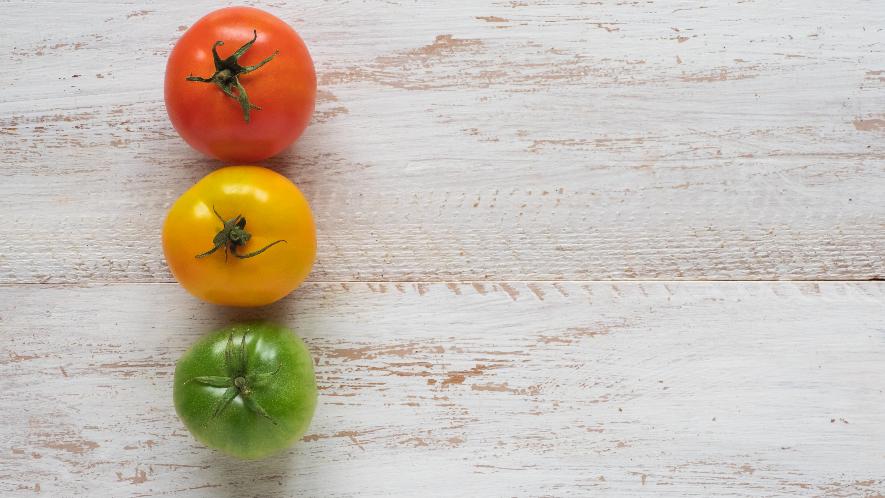 drei verschiedenfarbige Tomaten auf einem Tisch