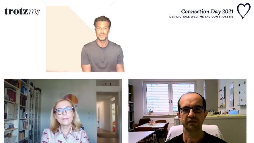 Wayne Carpendale im Interview mit Neurologin Ruta Pflieger und MS-Fachkraft Alexander Bayer