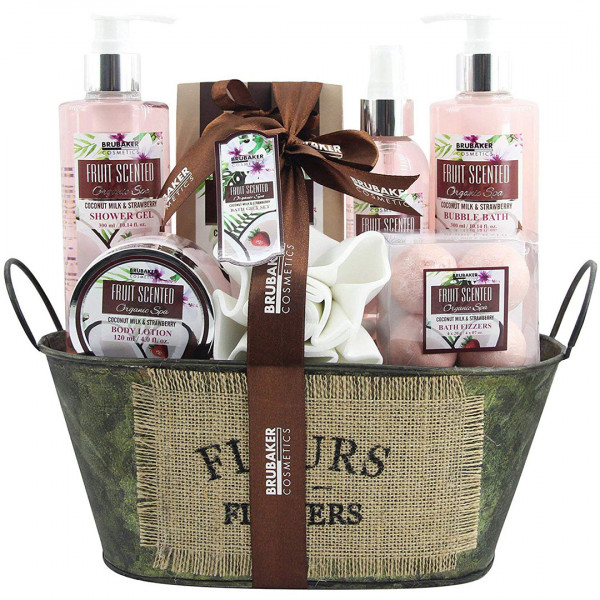 BRUBAKER Cosmetics Bade- und Dusch Set Kokosnuss & Erdbeer Duft