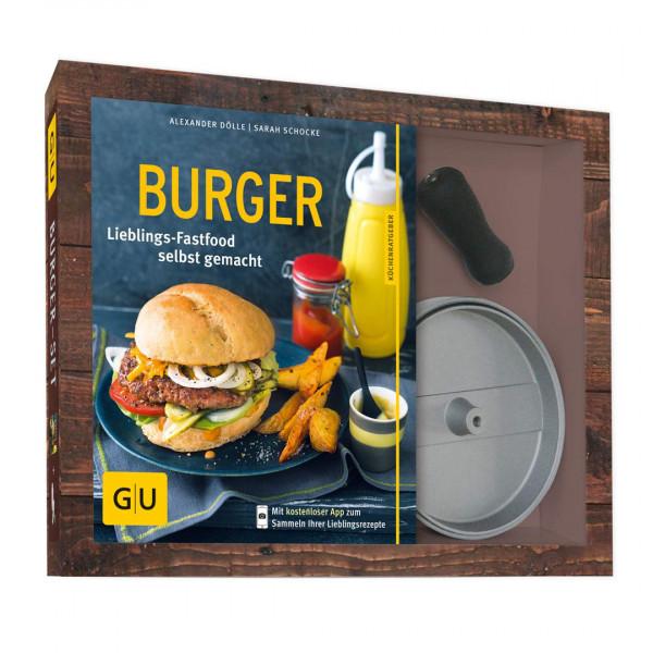 Burger-Set: mit antihaftbeschichteter Burgerpresse aus Aluguss