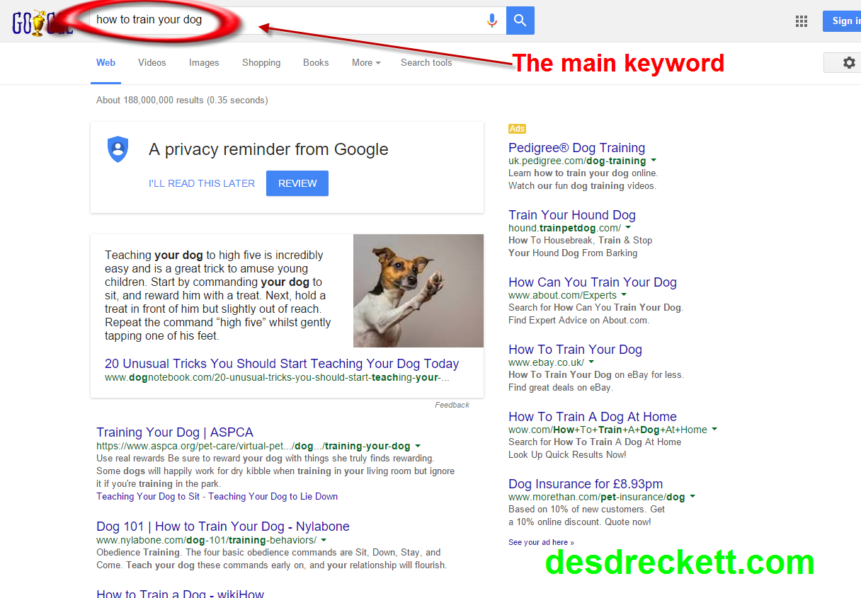 an example of a search result without the main keyword