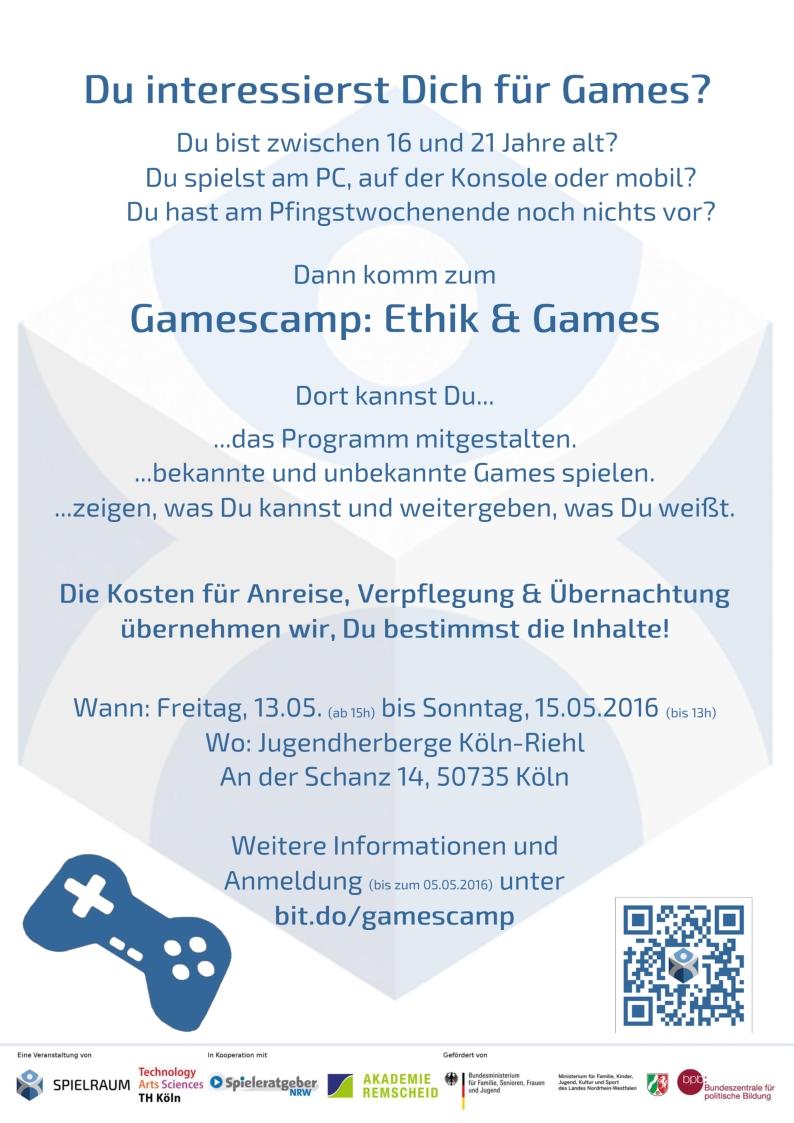 Gamescamp Ethik und Games - DinA4 Aushang