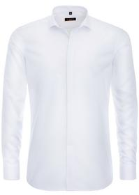 Langarm hemd Slim Fit Chambray Weiß Unifarben