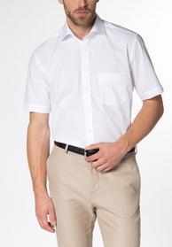 Kurzarm Hemd Modern Fit Popeline Weiß Unifarben