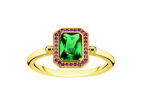 Ring Steine rot & grün Gold