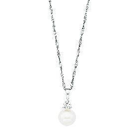 Kette mit Perlen-Anhänger & Zirkonia, 925/- Silber