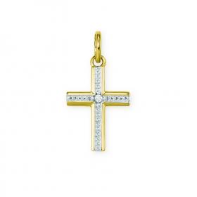 Kettenanhänger Kreuz, 585/- Gelbgold