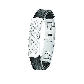 Herren-Armband, schwarz, Echtleder & Edelstahl