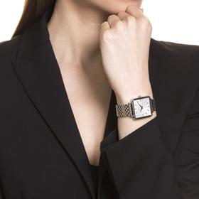 Damenuhr, eckig, bicolor mit Roségoldbeschichtung, Edelstahl