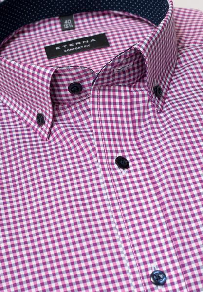 Langarm Hemd Comfort Fit Popeline Pink/Grau Kariert