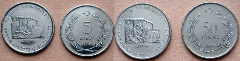 1970 Saban Kılıçtan Üstündür yazılı madeni türk paraları