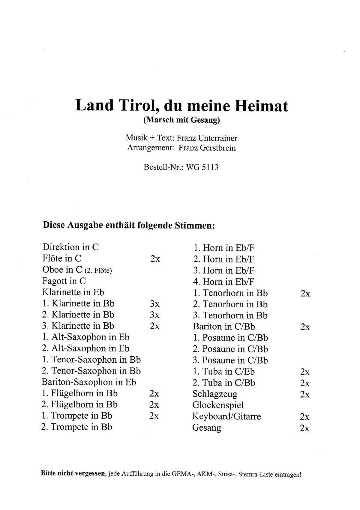 Land Tirol Du Meine Heimat Blasorchester Noten Kaufen Im Blasmusik Shop