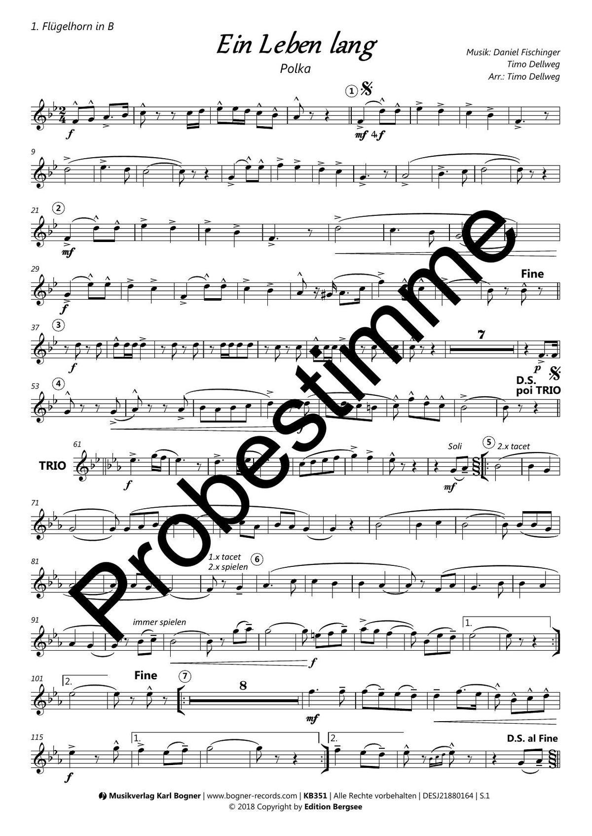 Ein Leben lang (Polka) | Noten - Polkas | Timo Dellweg