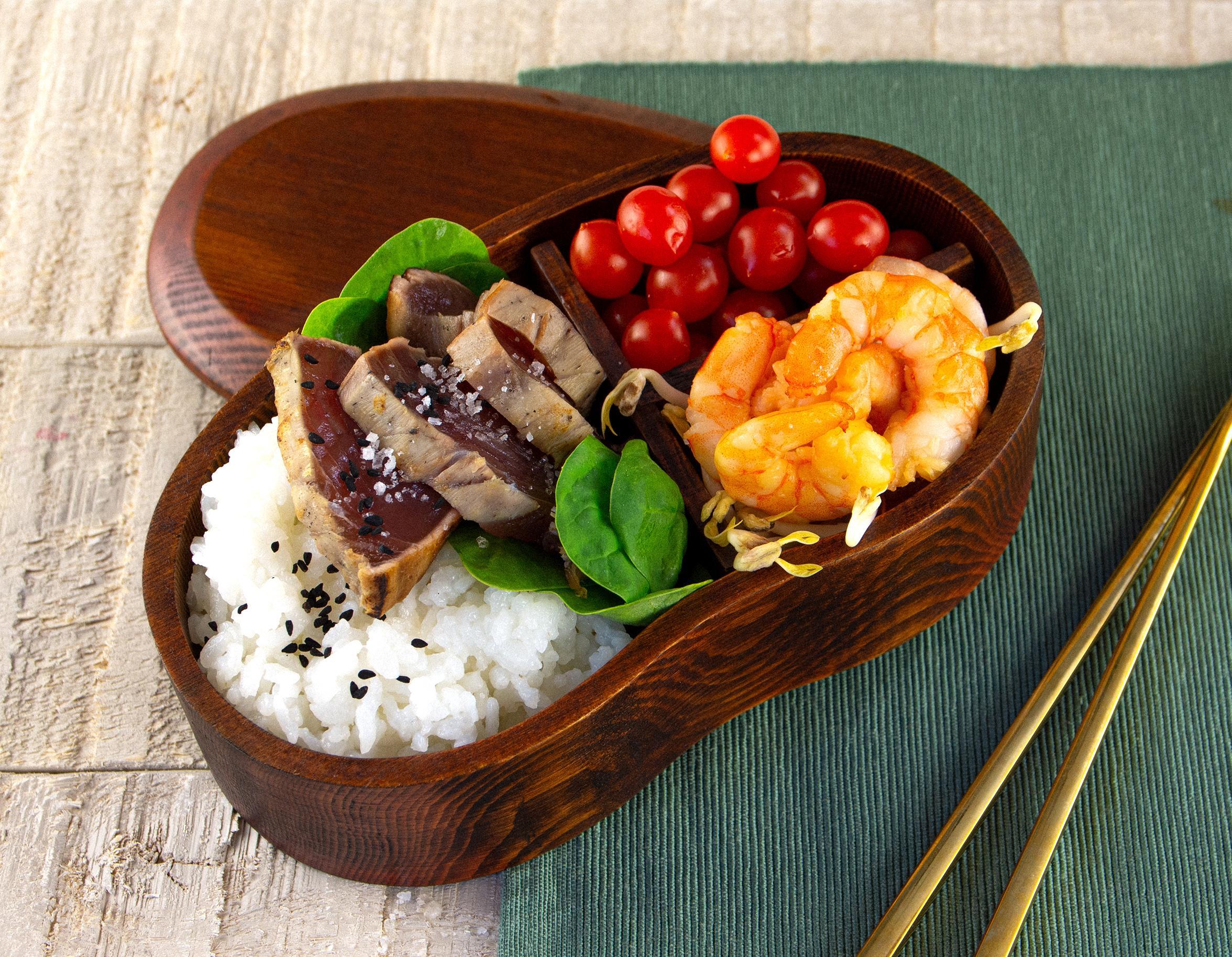 Thunfisch-Tataki & Rauchgarnelen mit Snackgemüse