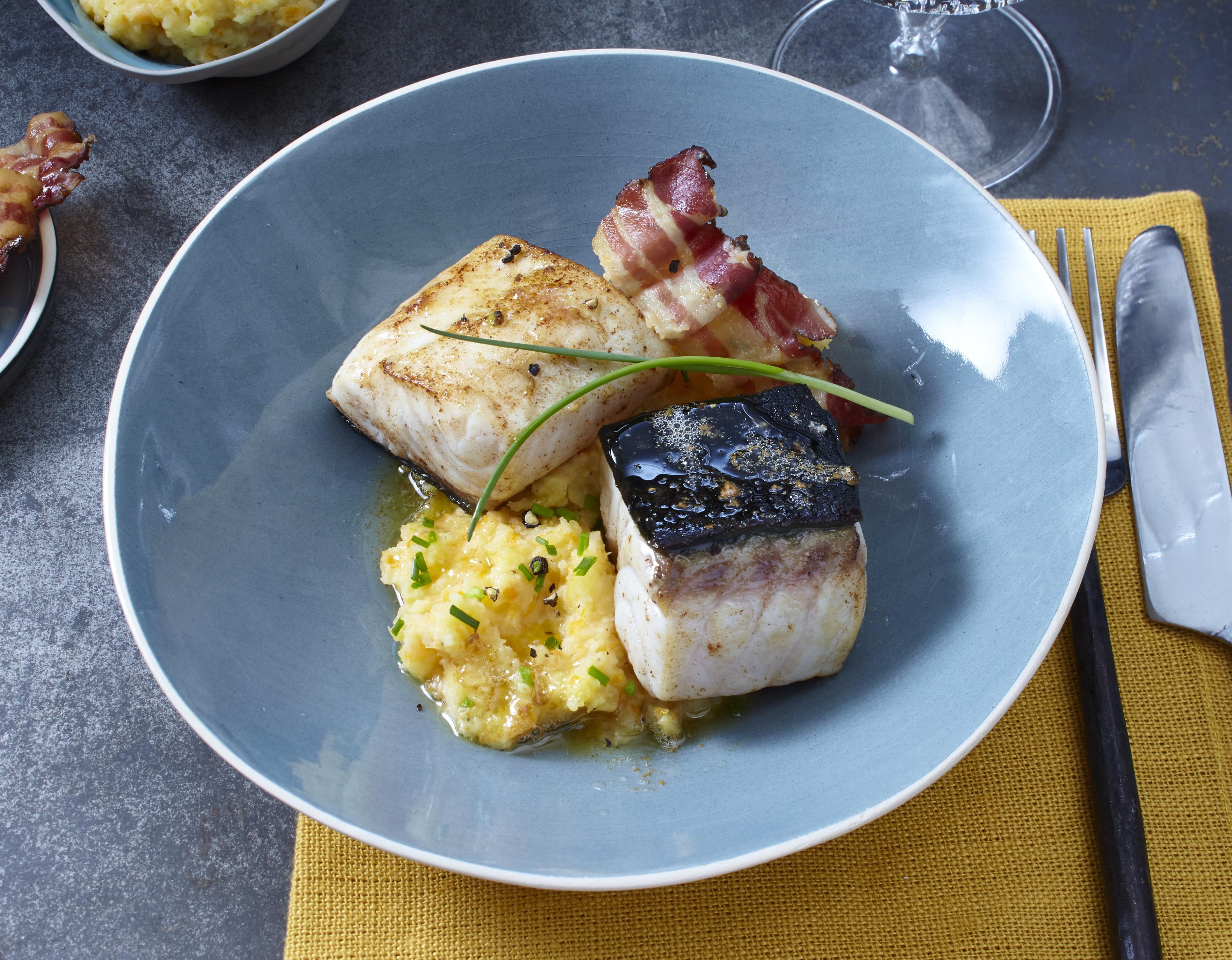 Stör mit Steckrübenpüree & Bacon