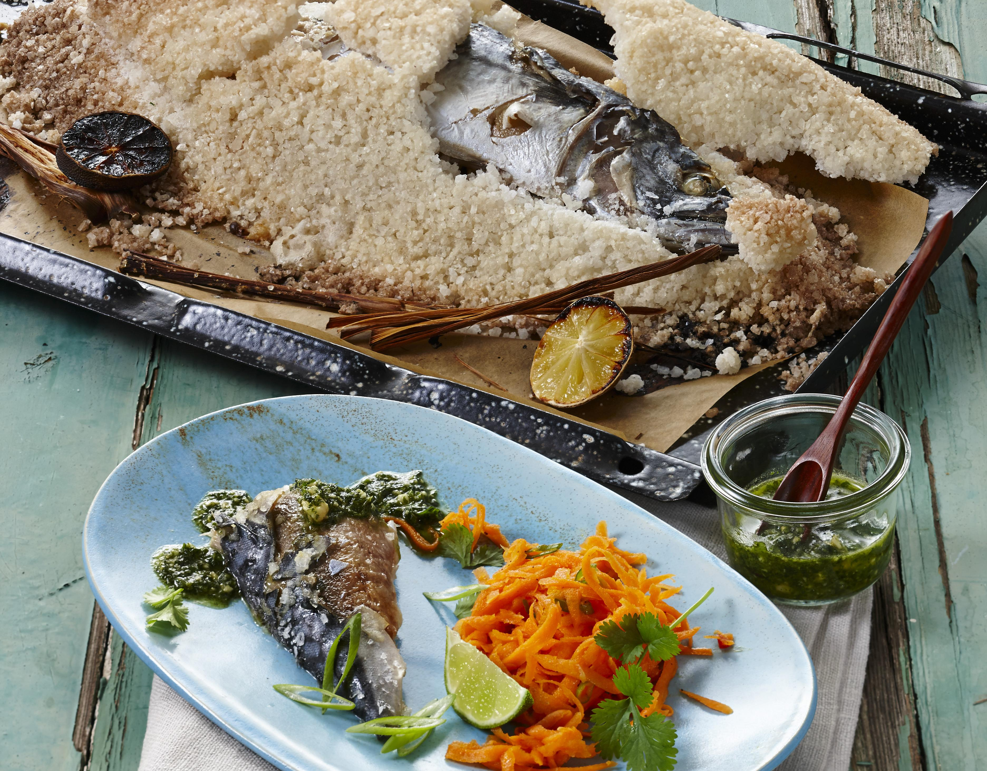 """Makrele in Salzkruste """"Thai-Style"""""""