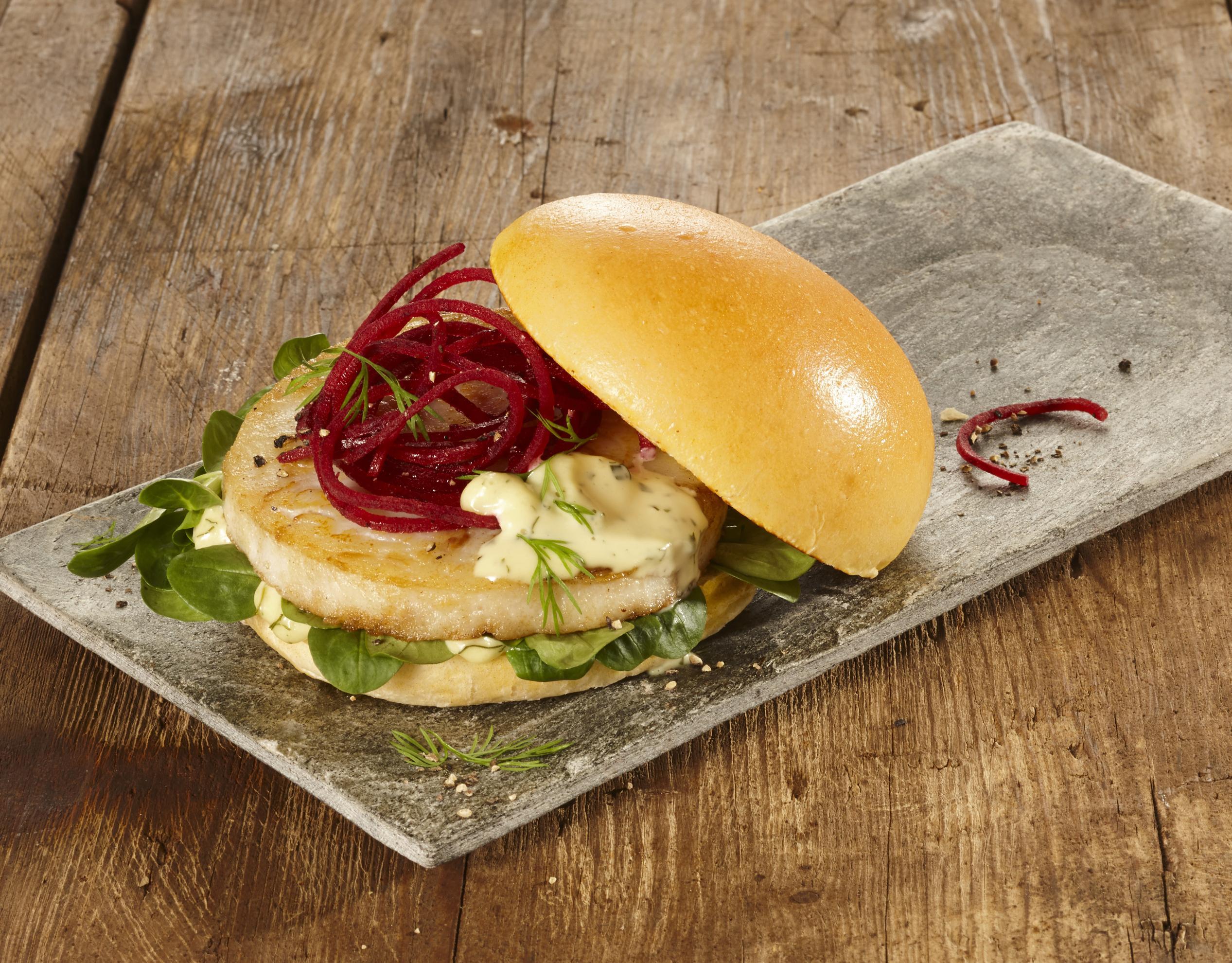 Kabeljau-Alaska-Seelachs Burger