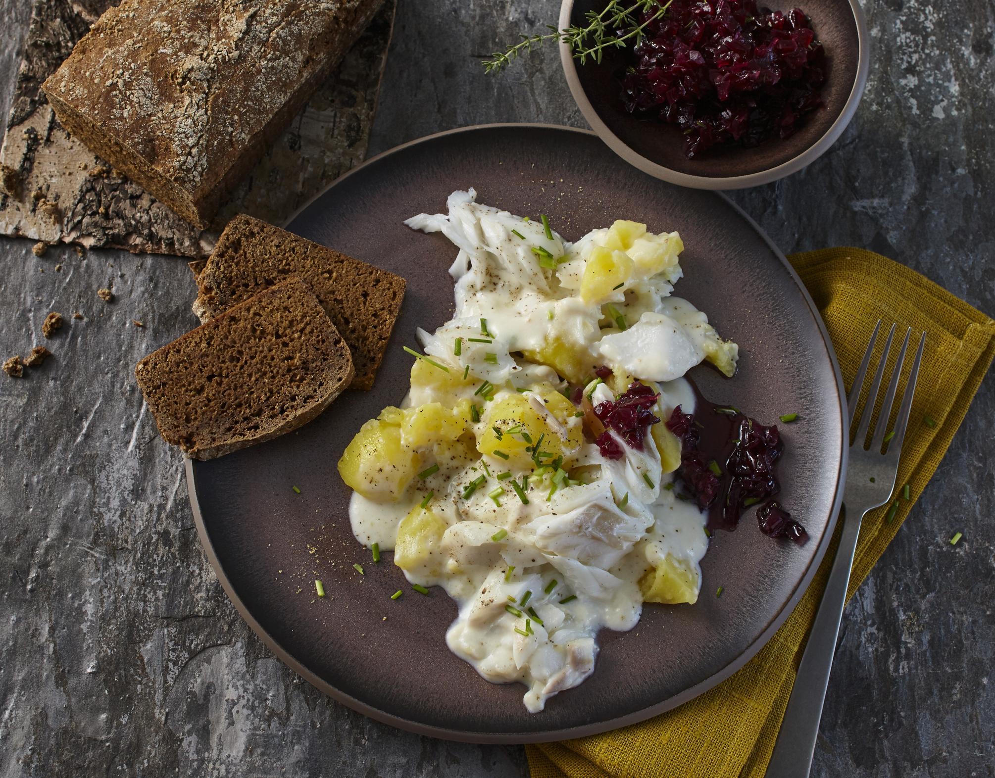 Rezept Kabeljau mit isländischem Kartoffelpüree und Roggenbrot
